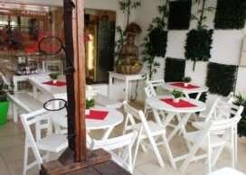 Mesas y bancos 1,5mts y sillas plegables blancas