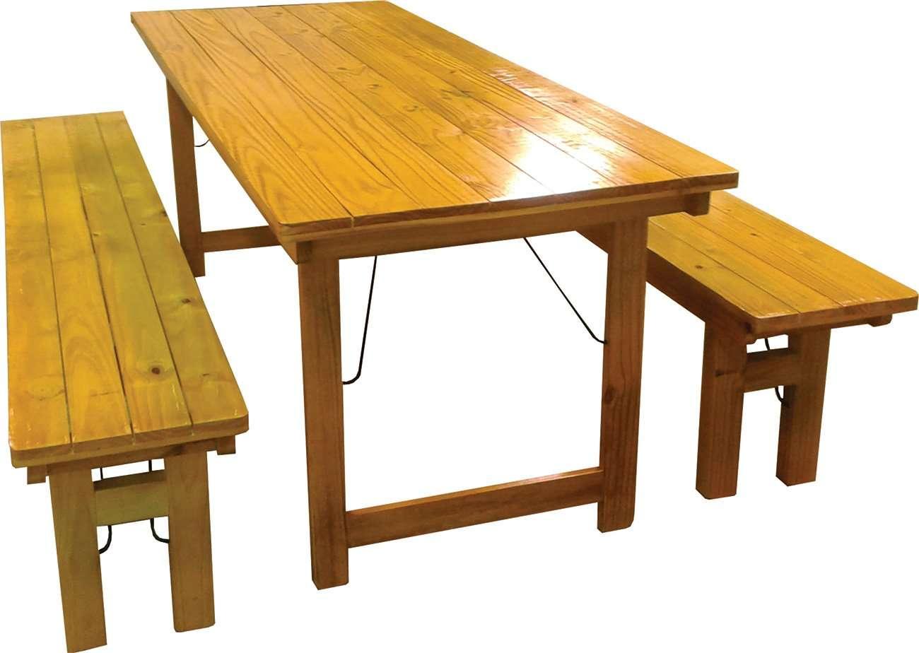 Juego de mesa y 2 bancos color roble de 2 metros fabrica de muebles forestry muebles de - Mesa infantil plegable ...