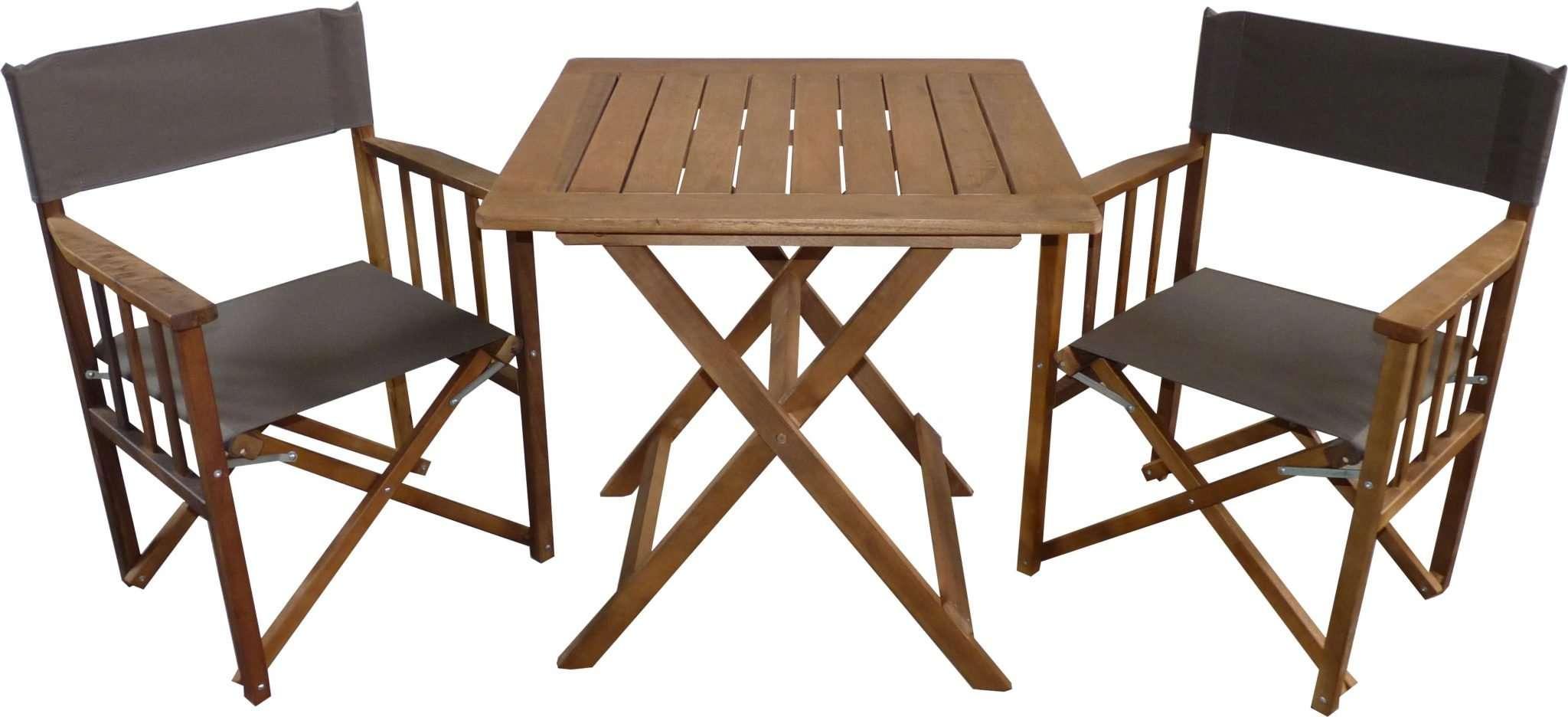Juego de 2 sillones director mesa 75x75 con impregnante - Mesa madera exterior ...