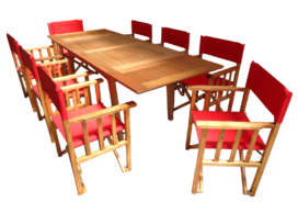 juego de 8 sillones director + mesa extensible