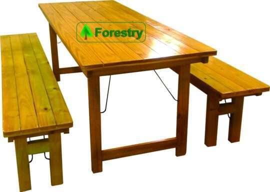 Mesa y bancos 2mts plegables laqueados