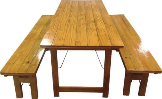 mesa y bancos 1,5 laca