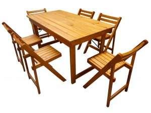 Mesa 1,5mts+ 6 sillas dr laqueadas