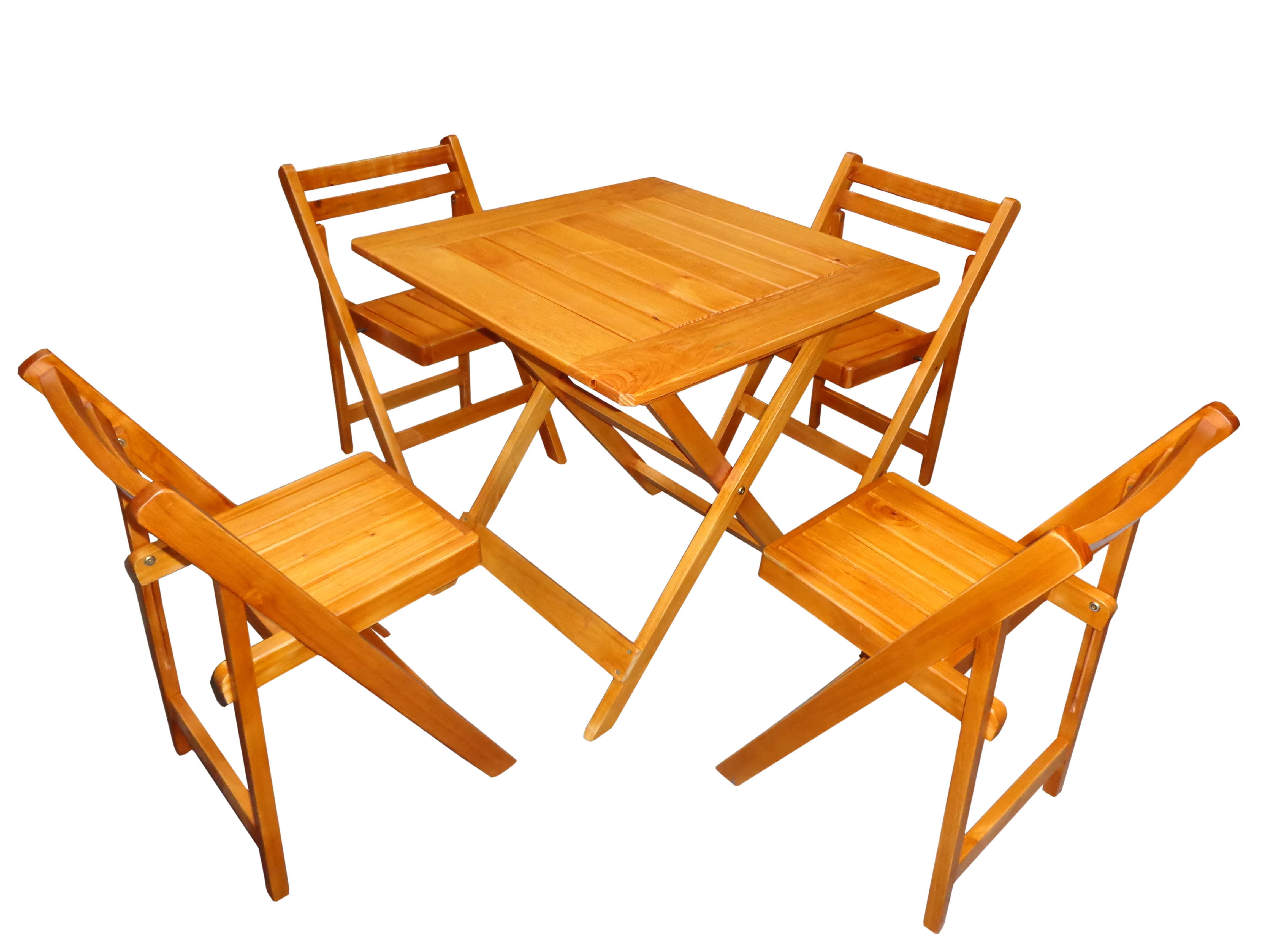 Mesa + sillas plegables laqueadas
